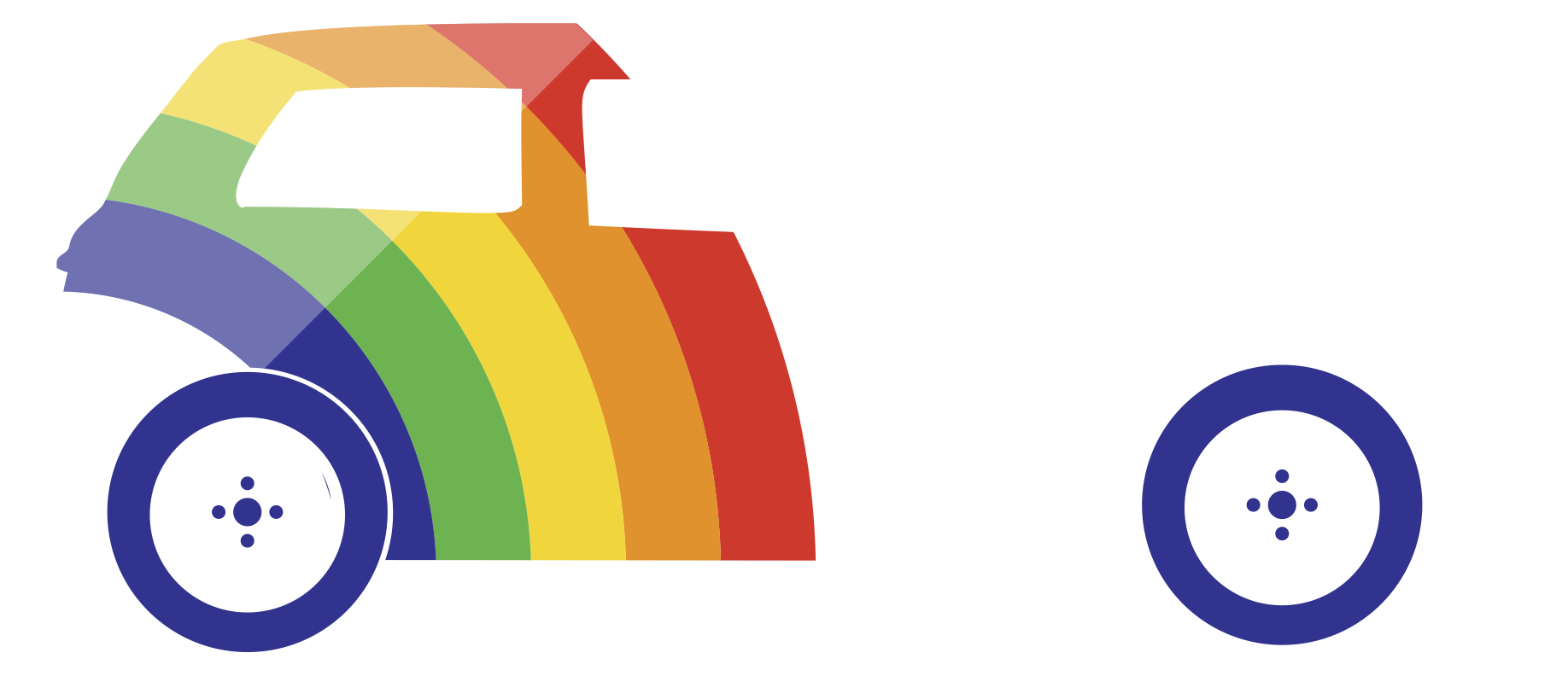 white rainbow car